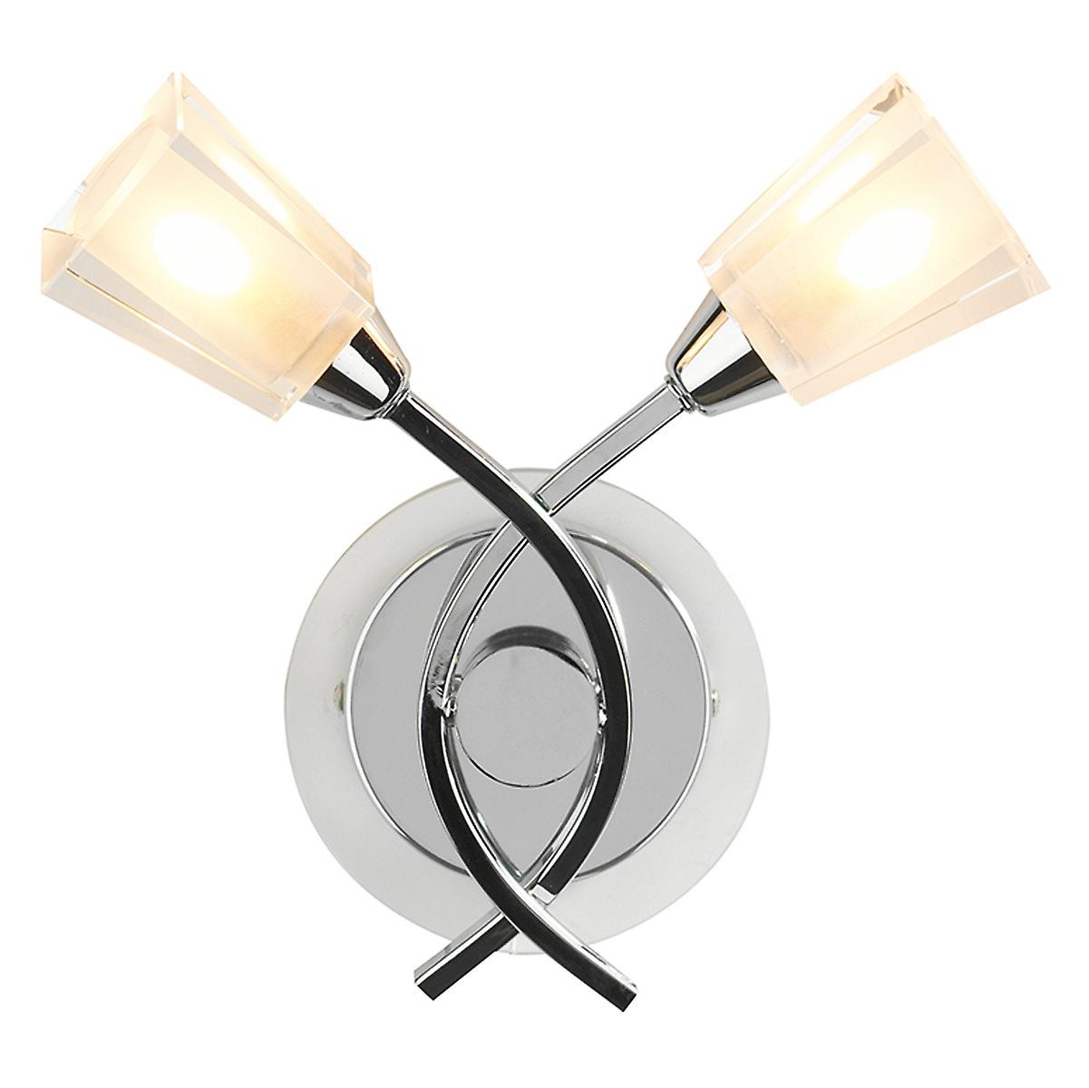 Dar AUS0950 Austin Modern Chrome Switched Wall Light With Clear Frosted Glass