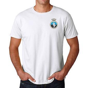 HMS Leeds Castle Embroidered Logo - Official Royal Navy Ringspun Cotton T Shirt