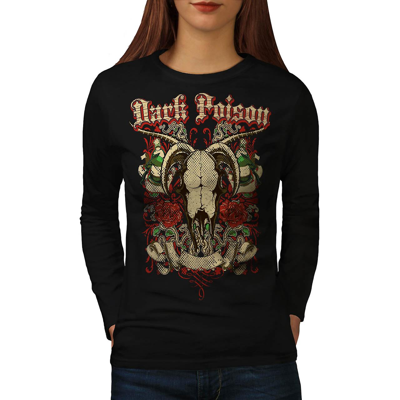 Dark Poison Animal Skull Women Black Long Sleeve T-shirt | Wellcoda