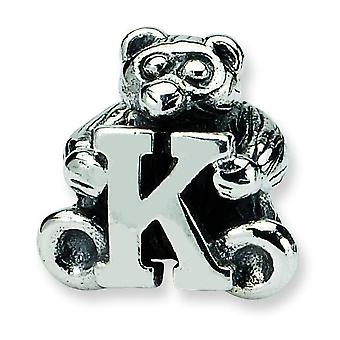 Sterling Silver Antique finish Reflections Kids Letter K Bead Charm