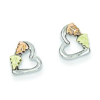 Sterling Silver and 12k Small Heart Post Earrings