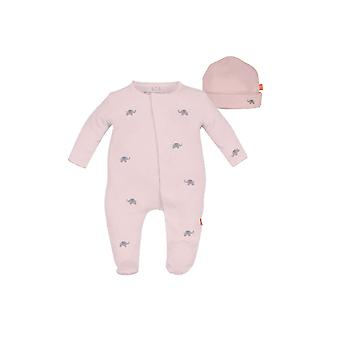 Magnificent Baby Magnetic Me™ Darjeeling Elephant Baby Girl Footie & Hat Set