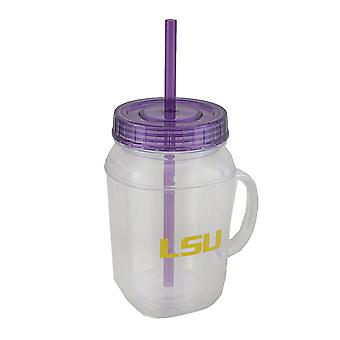 LSU Tigers 16 oz. Mason Jar With Straw and Lid