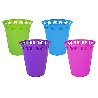Waste Paper Bin Plastic Blue Green Pink or Purple