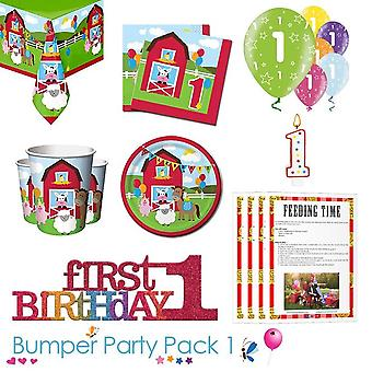 Farmhouse Fun 1st Birthday Party Tableware Bumper Pack 1