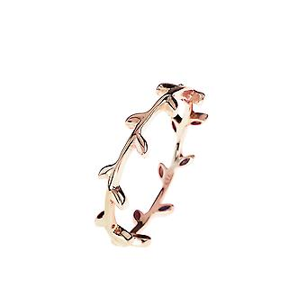 Latelita 925 Sterling Silver Branch Leaf Flower Ring Rose Gold Plain Stacking