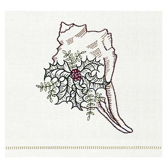 Conch Shell With Sprigs of Holly Kitchen Towel Christmas Holiday