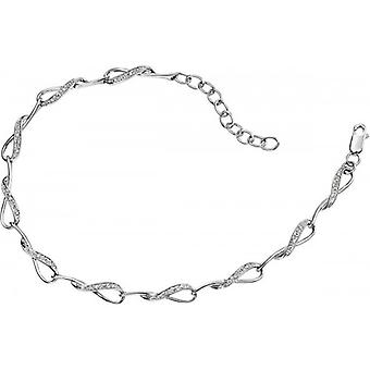 Elements Gold Exquisite 9ct White Gold Pave Diamond Loop Linked Bracelet - Clear/White Gold