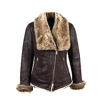 Davos Faux Toscana Sheepskin Jacket in Berry Brown