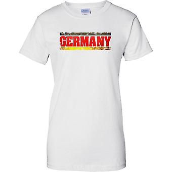 Germany Grunge Country Name Flag Effect - Ladies T Shirt