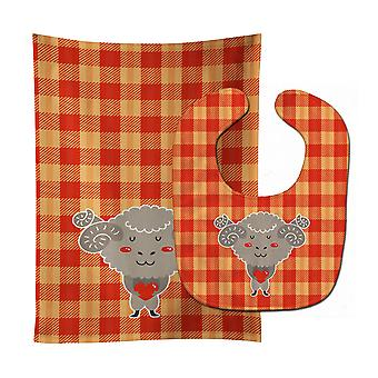 Carolines Treasures  BB6738STBU Ram with a Heart Baby Bib & Burp Cloth