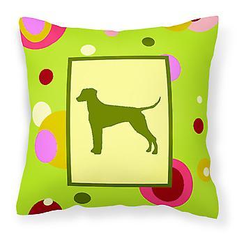Lime Green Dots Dalmatian Fabric Decorative Pillow
