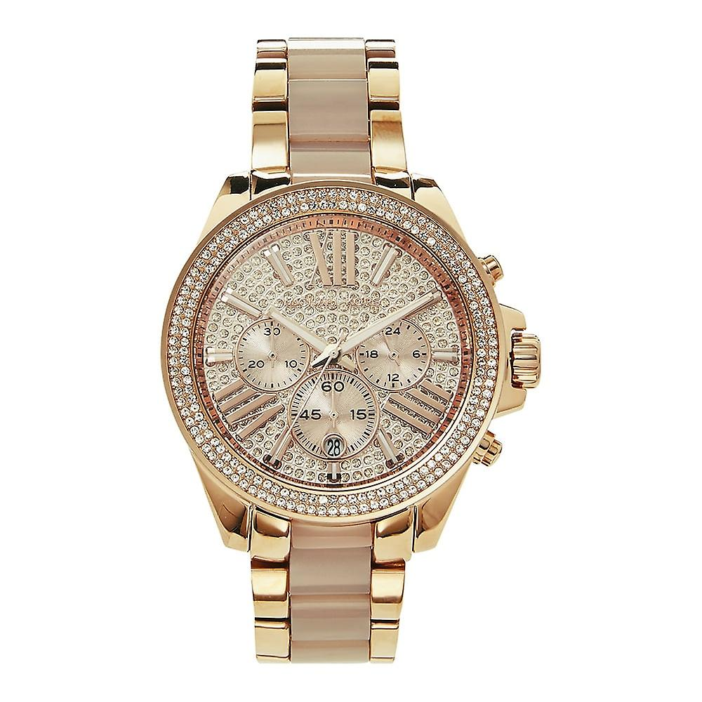 Michael Kors Watches Mk6096 Wren Crystal Dial & Rose Gold Tone Stainless Steel Chronograph Ladies Watch