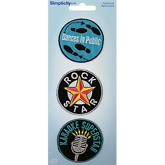 Wrights Iron-On Applique Badges 3/Pkg-Music 19350-21001