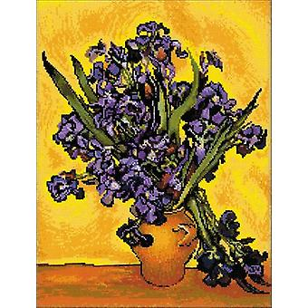 Irises After Van Gogh's Painting Counted Cross Stitch Kit-11.75