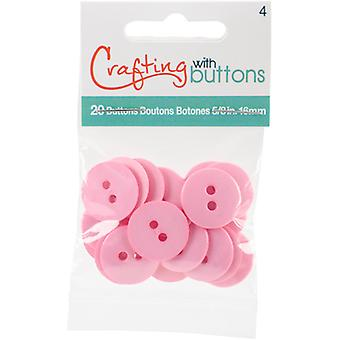 Small Color Buttons 20/Pkg-Pink 5/8