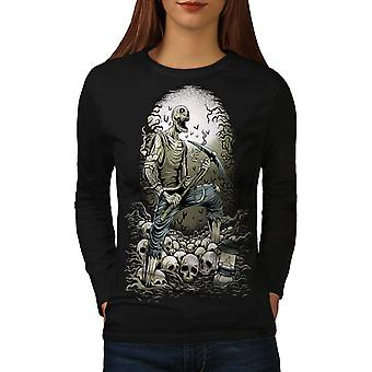 Zombie Miner Skull Horror Women BlackLong Sleeve T-shirt | Wellcoda