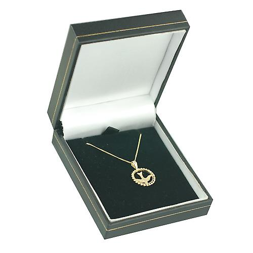 9ct Gold 15mm round Confirmation Pendant with a curb Chain 16 inches Only Suitable for Children