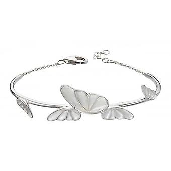 Elements Silver Statement Butterfly Bangle - Silver/White