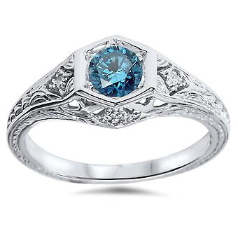 3 / 8ct Vintage Blue Diamond Engagement Ring 14K Weissgold