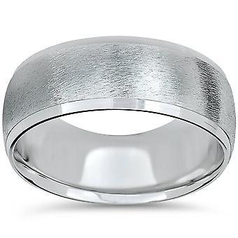 Mens 14K White Gold 8mm Beveled Wedding Ring Band Brush