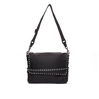 Valentino Unisex Nylon Rockstud Umhängetaschen Messenger Bag Black m