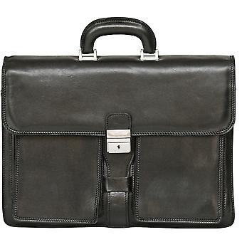 Genuine Italian Large Flapover Briefcase Messenger Bag Triple Compartment