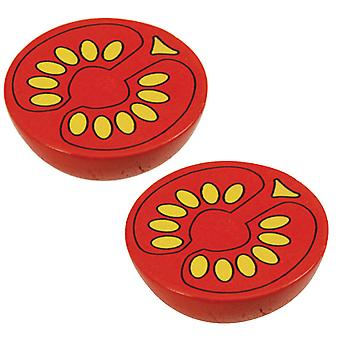 Bigjigs Toys Wooden Play Food Half Tomato (Pack of 2) Pretend Roleplay Kitchen