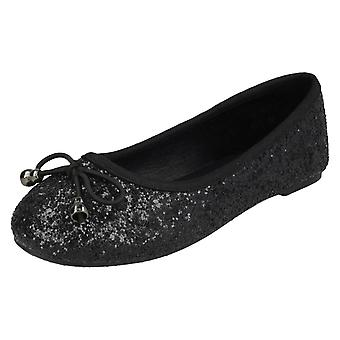 Girls Spot On Glitter Ballerinas H2488 - Black Glitter - UK Size 12 - EU Size 30 - US Size 13