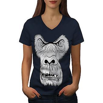Monkey Angry Face Animal Women NavyV-Neck T-shirt | Wellcoda