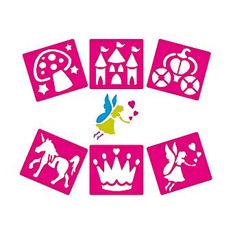 6 Plastic Washable Fairy Princess Stencils for Kids | Kids Craft Stencils