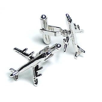 Silver-Tone Men's Cuff Links Airplane Shaped Cufflinks