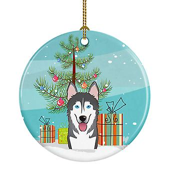 Christmas Tree and Alaskan Malamute Ceramic Ornament