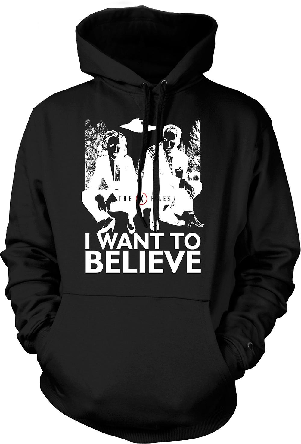 Mens Hoodie - X Files I Want To believe - UFO