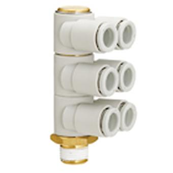 SMC Pneumatic Elbow Threaded-To-Tube Adapter, R 3/8 Male, Push In 6 Mm