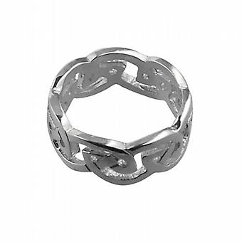 9ct White Gold 8mm Celtic Wedding Ring Size L