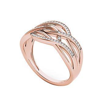 IGI certifié 10 k Ct 0,15 Or Rose diamants emboîtement rubans mode anneau