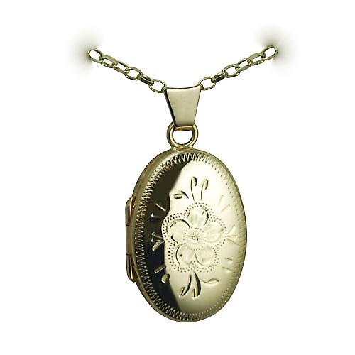 9ct Gold 22x15mm hand engraved flower oval Locket with a belcher chain