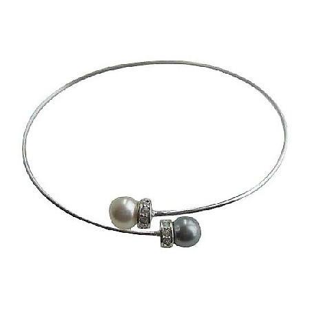 Pearls Wire Bracelet Swarovski Pearls Grey & Cream w/ Silver Rondells