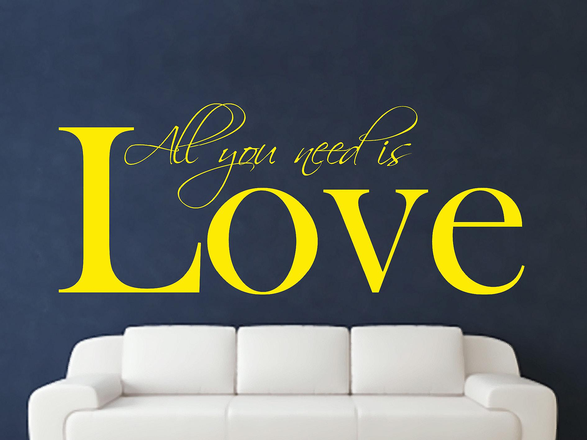 All You Need Art Wall Sticker - Bright Yellow