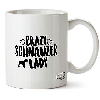 Hippowarehouse Crazy Schnauzer Lady Dog Printed Mug Cup Ceramic 10oz