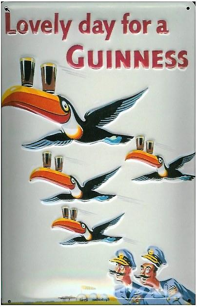 Guinness Flying Toucans metal postcard / mini sign   (hi)
