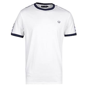 Fred Perry getapete Ringer sneeuw wit T-Shirt