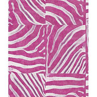 Pop Skin Zebra streep behang roze witte Animal Print textuur plak de muur