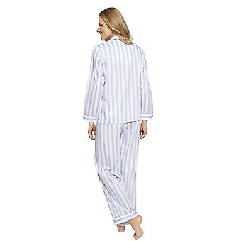 Cyberjammies 1319 Women's Nora Rose Thea Blue Mix Striped Cotton Pyjama Set