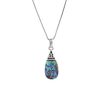 Eternal Collection Oceanic Paua Shell Teardrop Silver Tone Pendant Necklace