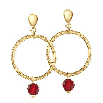 Eternal Collection Infinito Gold And Red Crystal Drop Hoop Clip On Earrings