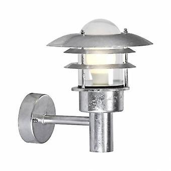 1 Light Outdoor Wall Lantern Light Galvanised Ip44