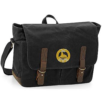 South Wales Borderers-licensierade brittiska armén broderade vaxad canvas Messenger Bag