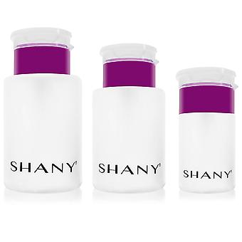 SHANY Push-Top Liquid Dispenser Set - Assorted Sizes Refillable Plastic Bottles with Snap Flip-Top Caps and Push-Down Pump - 3 PC